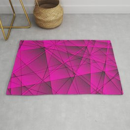 Geometric web of pink lines with cross triangular highlights. Rug