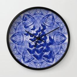 Shadow butterflies emerging from dark chrysalis Wall Clock