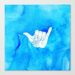 Surf Hang Loose Hawaiian Ocean Blue Hip Watercolor Canvas Print