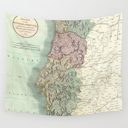 Vintage Map of Portugal (1801) Wall Tapestry