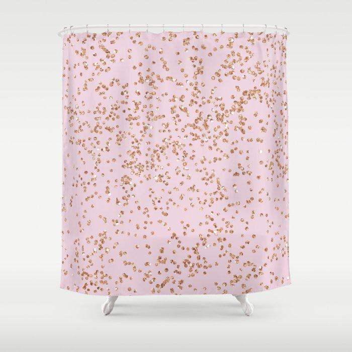 Rose Gold Diamond Confetti Shower Curtain By Peggieprints