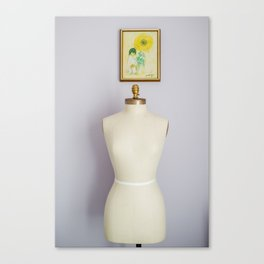 Her and the girl with the yellow flower Canvas Print
