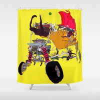 evil Shower Curtains featuring EVIL CAR by kasi minami
