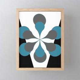 Mid-Century Modern Art 1.4B Grey Aqua Flower Framed Mini Art Print
