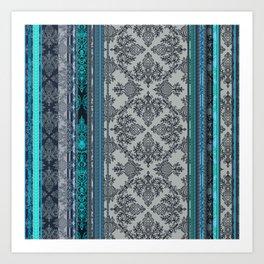 Teal, Aqua & Grey Vintage Bohemian Wallpaper Stripes Art Print