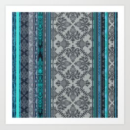 Teal, Aqua & Grey Vintage Bohemian Wallpaper Stripes Art Print