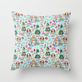 Blue Christmas - From Girls And Gifts Throw Pillow