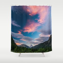 Amazing sunset clouds over mountain Mangart Shower Curtain