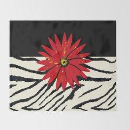 Animal Print Zebra Black and White and Red flower Medallion Throw Blanket