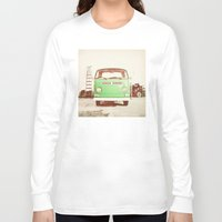 volkswagon Long Sleeve T-shirts featuring Vintage Volkswagen Bus (Green Edition) by Laura Ruth