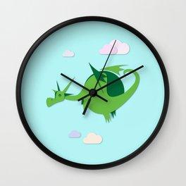 Green fat dragon Wall Clock