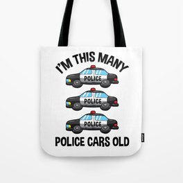 I'm This Many Police Cars Old 3 Birthday Tote Bag