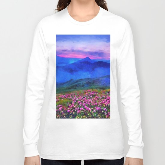 Flowering mountains in the clouds Long Sleeve T-shirt