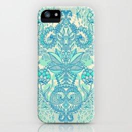 Botanical Geometry - nature pattern in blue, mint green & cream iPhone Case