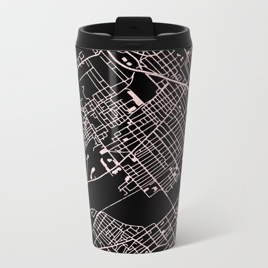 Wilkes-Barre Rose Gold and White Map Metal Travel Mug