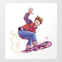 Mcfly on Hoverboard Art Print