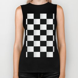 BLACK AND WHITE SQUARES Abstract Art Biker Tank