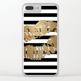 Gold Lips 2 Clear iPhone Case
