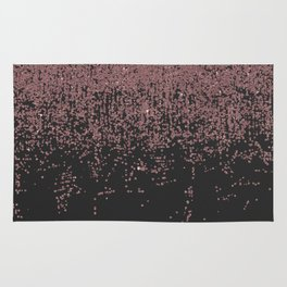 Chic Rose Gold Speckled Glitter Ombre Black Rug
