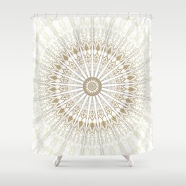 Khaki White Mandala Shower Curtain