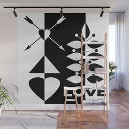 Scandinavian black and white abstract pattern . Wall Mural