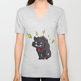 cartoon scared black cat Unisex V-Neck