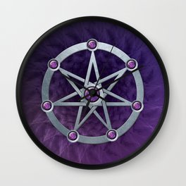 Elven star SIlver embossed with Amethyst Wall Clock