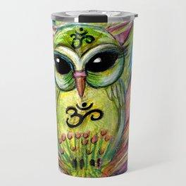 Lotus Owl original illustration from Spirit Owl Series by Sheridon Rayment Travel Mug