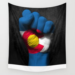 Colorado Flag on a Raised Clenched Fist Wall Tapestry