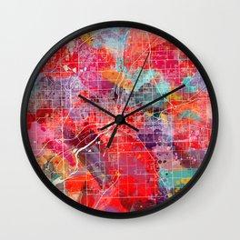 Joliet map Illinois painting 2 Wall Clock
