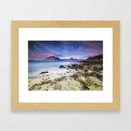Beach Scene - Mountains, Water, Waves, Rocks - Isle of Skye, UK Framed Art Print