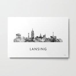 Lansing, Michigan Skyline WB BW Metal Print