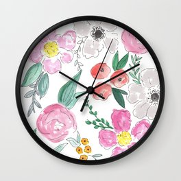 Floral Peony and Rose Watercolor Print  Wall Clock