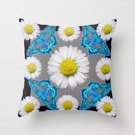 Blue Moths White Daisies Black Grey Art Throw Pillow