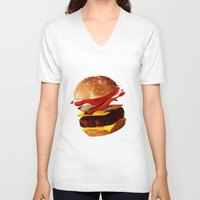 hamburger V-neck T-shirts featuring Hamburger by Hikkaphobia