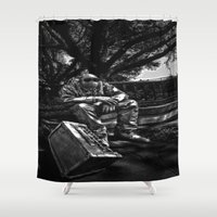 heavy metal Shower Curtains featuring too Heavy Metal by gymmybob
