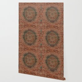 Bohemian Medallion I // 15th Century Old Distressed Red Green Colorful Ornate Accent Rug Pattern Wallpaper