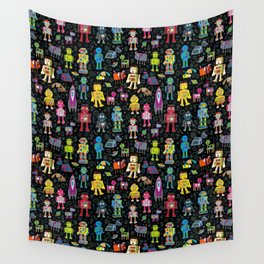 Robots in Space - on black Wall Tapestry