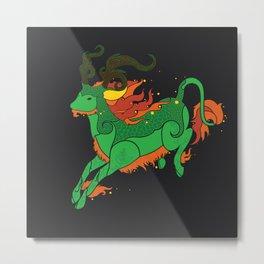 Qilin in the Dark Metal Print