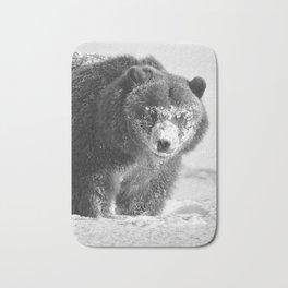 Alaskan Grizzly Bear in Snow, B & W - 3 Bath Mat