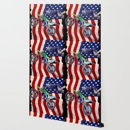 High Flying Freestyle Motocross Rider & US Flag Wallpaper