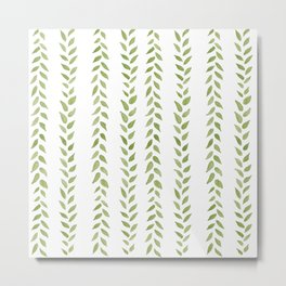 Matcha Greens - nature spring leaves green pattern Metal Print