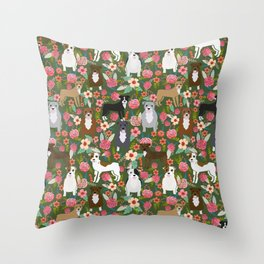 Pitbull mixed coats floral dog breed pibbles must have pitbulls lovers Throw Pillow