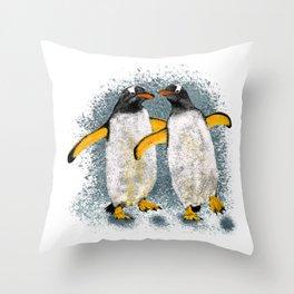 Happy penguin couple - White Throw Pillow