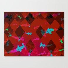 Argyle Frenzy in Ruby Canvas Print