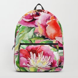 Blush pink orange green hand painted watercolor floral Backpack