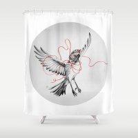saga Shower Curtains featuring COURIER ROBIN by Saga-Mariah