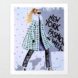 NEW YORK FAHION WEEK ILLUSTRATION BY JAMES THOMAS RYAN Art Print