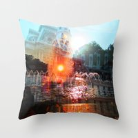 cities Throw Pillows featuring cities by aerart