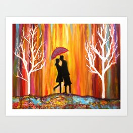 Romance in the Rain I romantic gift art Art Print
